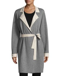 Neiman Marcus | Gray Double-faced Belted Cardigan | Lyst