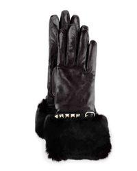 Valentino | Black Rockstud Leather Gloves With Fur Cuffs | Lyst
