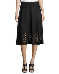 Neiman Marcus - Black Faux-suede Flared Midi Laser-cut Skirt - Lyst