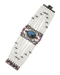 Bavna | Multicolor Multi-row Mixed-gem Cuff Bracelet | Lyst