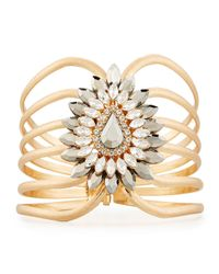 Lydell NYC | Metallic Golden Wire Cuff Bracelet W/ Large Crystal Station | Lyst