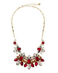 Lydell NYC | Multicolor Statement Crystal Cluster Bib Necklace | Lyst