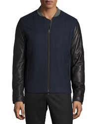 VINCE | Blue Quilted Jacket With Leather Sleeves for Men | Lyst