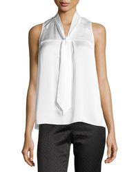 Laundry by Shelli Segal | White Pleated Tie-neck Top | Lyst