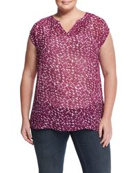 Vince Camuto - Multicolor Cap-sleeve Printed Crepe Blouse - Lyst