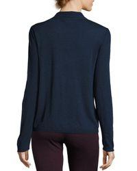 Max Studio - Blue Tie-neck Sweater Top - Lyst