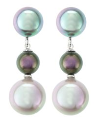 Majorica | Green Triple Pearl-Drop Earrings | Lyst