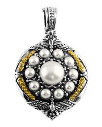 Konstantino | Black Silver & 18k Round Pearl Pendant Enhancer | Lyst