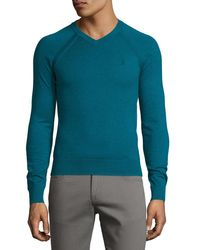 Original Penguin - Blue Knit Cotton Long-sleeve Sweater for Men - Lyst