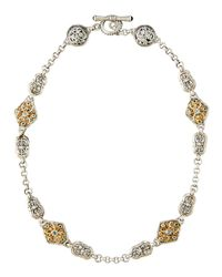 Konstantino - Double-sided Scroll Station Necklace W/ Blue Topaz - Lyst
