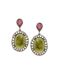 Bavna | Multicolored Sapphire & Diamond Double-drop Earrings | Lyst