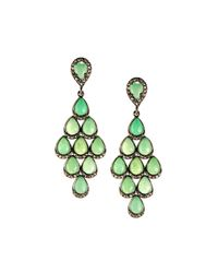 Bavna - Green Teardrop Chrysoprase & Diamond Dangle Earrings - Lyst