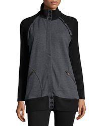 525 America | Gray Oversized Raglan Zip-front Sweater | Lyst