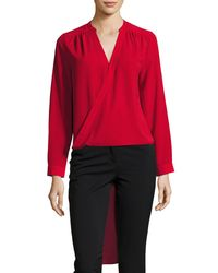 Laundry by Shelli Segal | Red Faux-wrap High-low Tunic | Lyst