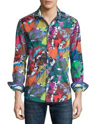 Robert Graham | Green Cholla Cactus Printed Long-sleeve Sport Shirt for Men | Lyst