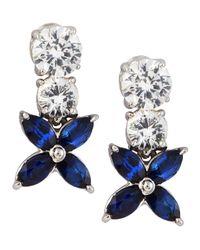 Fantasia by Deserio - Blue Cubic Zirconia Flower Earrings - Lyst