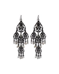 Lydell NYC | Black Filigree Teardrop Crystal Chandelier Earrings | Lyst