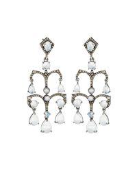 Bavna - Metallic Tiered Moonstone & Diamond Drop Earrings - Lyst
