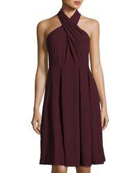 Halston | Multicolor Crisscross Sleeveless Flared Ponte Dress | Lyst