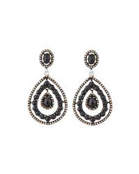 Bavna | Black Spinel & Diamond Drop Earrings | Lyst