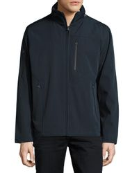 T Tahari - Blue Micro-tech Stand-collar Jacket for Men - Lyst