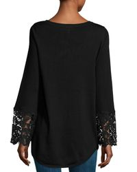 Neiman Marcus - Black Lace Bell Sleeve Sweater Top - Lyst