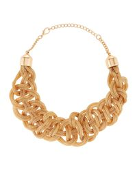 Kenneth Jay Lane | Metallic Woven Golden Snake Chain Necklace | Lyst