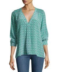 Joie | Green Aceline Floral-print Silk Top | Lyst