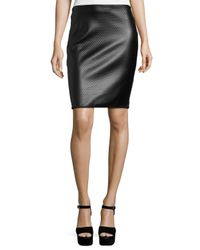 Max Studio | Black Textured Faux-leather Pencil Skirt | Lyst