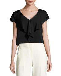 MILLY | White Cascade-trim Stretch-silk Top | Lyst