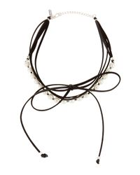 Panacea - Black Pearly Layered Bow Choker Necklace - Lyst