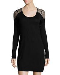 Lamade - Black Lace-shoulder Scoop-neck Dress - Lyst