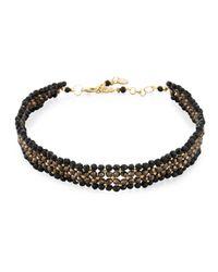 Nakamol | Black 4-row Crystal Beaded Choker Necklace | Lyst