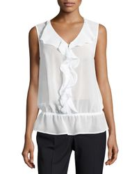 Laundry by Shelli Segal | Black Ruffle-front Sleeveless Top | Lyst