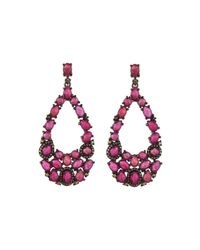 Bavna | Red Composite Ruby & Pave Diamond Teardrop Earrings | Lyst
