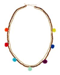 Panacea | Metallic Double-strand Beaded Pompom Necklace | Lyst