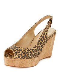 Stuart Weitzman | Multicolor Jean Leopard-print Slingback Wedge Sandal | Lyst