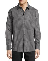 English Laundry - Gray Micro-print Button-front Sport Shirt for Men - Lyst