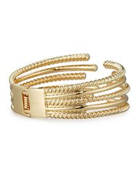 Lydell NYC - Metallic Textured Hinged Cuff Bracelet - Lyst