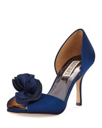 Badgley Mischka   Blue Thora Satin Rosette D'orsay Pump   Lyst