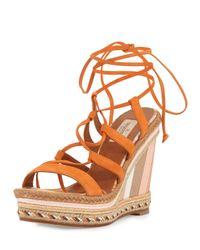 Valentino | Orange Suede Lace-up Espadrille Sandal | Lyst