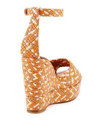 Valentino - Orange Woven Leather Wedge Sandal - Lyst