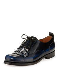 Valentino | Black Leather Kiltie Derby Oxford for Men | Lyst