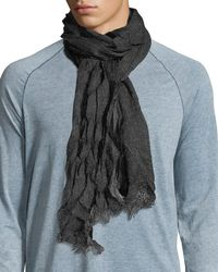 John Varvatos - Black End On End Fringe Scarf for Men - Lyst