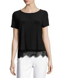 Cece by Cynthia Steffe | Black Lace-hem Short-sleeve Tee | Lyst