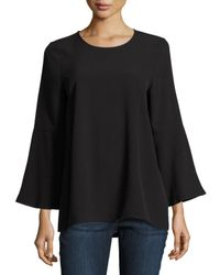 Kensie | Black Long Bell-sleeve Stretch-crepe Blouse | Lyst