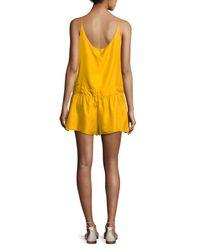 Rag & Bone | Yellow Dropped-waist Solid Dune Short Romper | Lyst