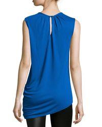 Halston - Blue Sleeveless Asymmetric Blouse - Lyst
