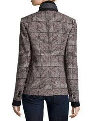 Veronica Beard | Multicolor Cutaway Stand-collar Jacket With Upstate Knit Dickey | Lyst