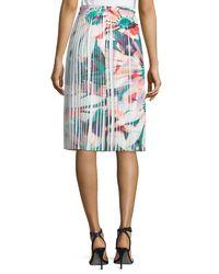 Nicole Miller - Blue Pleated Floral-print Skirt - Lyst